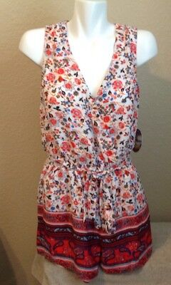 BEBOP Ladies Floral Romper Multicolor Cut Out Back Size Medium NEW ()