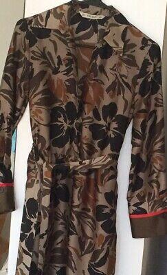 ZARA Basics Army Green Olive Floral print silky l/s Shirt Button Tie DRESS XS