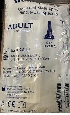 850 Welch Allyn Universal Kleenspec Single Use Specula Adult 4.25mm 52434-u New