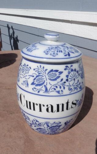 """Antique German Porcelain Blue & White Blue Onion Pattern CURRANTS Jar w/ Lid 6"""""""