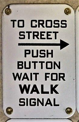 "Traffic Light Pedestrian Button Sign 7 3/4"" x 5"" Porcelain Enamel Arrow Right"