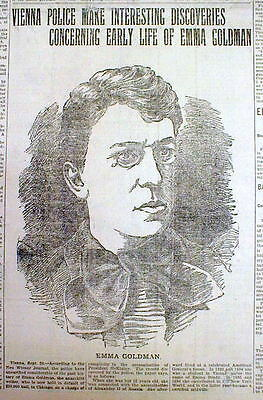 1901 newspaper Large PORTRAIT & EXPOSE of SCANDAL Radical anarchist EMMA GOLDMAN