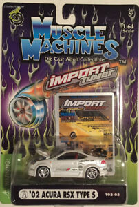 Muscle Machines Import Tuner T02-03 '02 Acura RSX Type S Pearl White 1:64