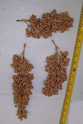 Gold Arrangement (3 GOLD BERRY BUNCHES ,WEDDING,HOME DECOR ,ADD TO FLORAL ARRANGEMENT,FREE SHIPPI )