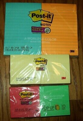 Lot Of 30 Pads Post-it Notes Super Sticky Assorted Styles And Colors