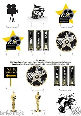 Hollywood Themed Wedding (Hollywood Cinema Movie Themed Stand Up Cupcake Toppers Topper Edible Rice)