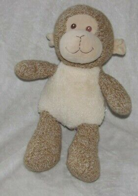 Spark Create Imagine Knit Sherpa Brown Monkey Plush Baby Toy Rattle 14""
