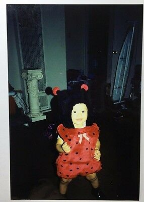 Quick Costume For Halloween (Vintage PHOTO Kid Wearing Ladybug Costume Ready for)
