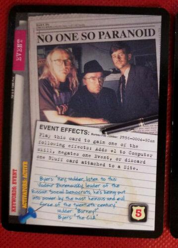 "X-FILES 1996 CCG PROMO ""NO ONE SO PARANOID"" GENCON EXC #PR96-0004-GCon *EX-*"