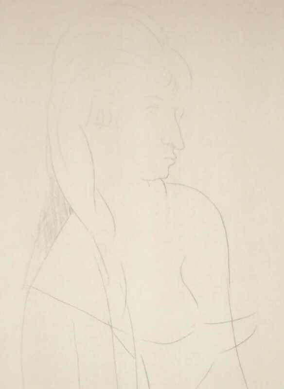 Amadeo Modigliani, ORIGINAL VINTAGE POCHOIR DRAWING, COA