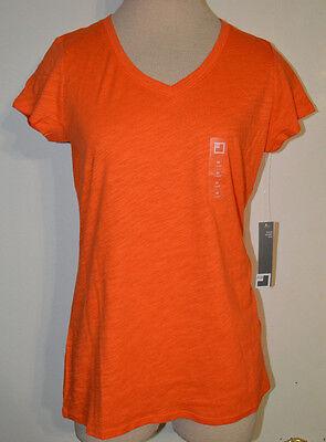 Womens Jcp Flame Orange Short Sleeve V Neck Slub T Shirt Ltwt  Top Sizes S  M