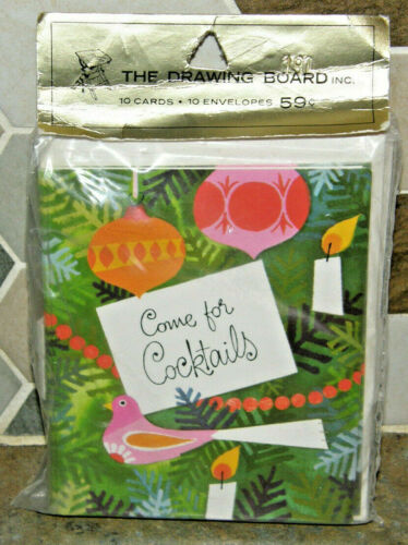 Pack of 10 Vintage Come for Cocktails Party Invitations Christmas MCM Ornaments