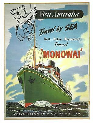 S.S MONOWAI formerly P&O RAZMAK. Union Steamship Colour Postcard. New Unused.