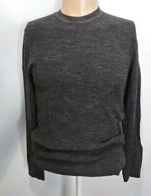 SUPERDRY Japan M Sweater Thermal Knit Mens Grey Knit Crew Neck Long Sleeve