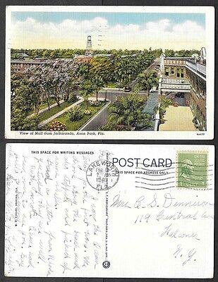 1940 Florida Postcard - Avon Park - View of Mall from Jackaranda