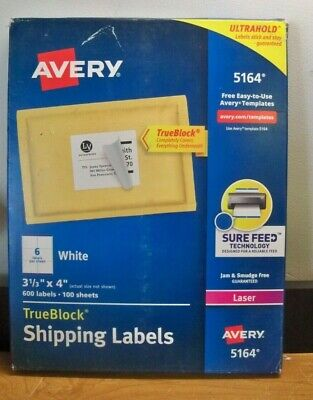 2 X New Avery 5164 3 1 3 X 4 Shipping Labels 2 X 600 1200 Free Priority