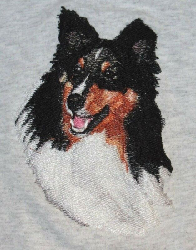 Embroidered Long-Sleeved T-Shirt - Shetland Sheepdog Sheltie BT4437