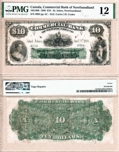 1888 $10 Commercial Bank of Newfoundland PMG Fine 12
