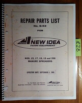 New Idea 15 17 18 19 200 Manure Spreader Repair Parts Catalog Manual S-53 968