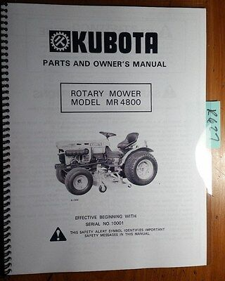 Kubota Mr4800 Rotary Mower For B6100hst B7100hst Tractor Owners Parts Manual