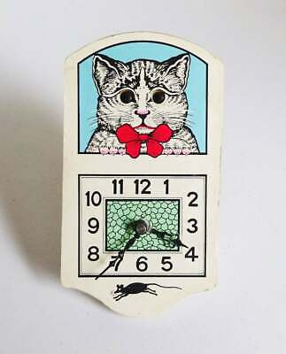 Vintage Battery Operated Motion Clock Cat with Moving Eyes