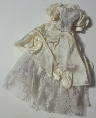 BARBIE DOLL CLOTHES OFF-WHITE LACE & BOWS WEDDING GOWN DRESS STAINED DISCOLORED
