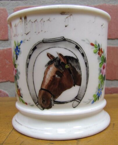 Antique Occupational Shaving Mug Horse HorseShoe Flowers Leonard Vienna Austria