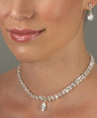 CLEARANCE! USA Crystal Rhinestone Round & Tear Drop Bridal Evening Necklace - Round Crystals Necklace Set