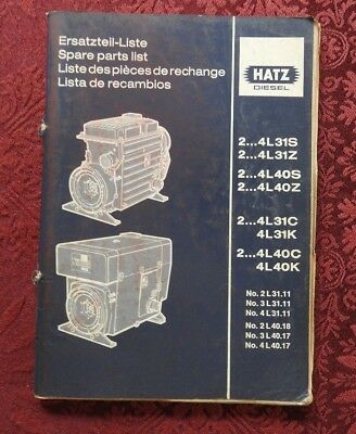 HATZ 2 4L31S 4L31Z 4L40S 4L40Z 4L 31C 31K 40C DIESEL ENGINE PARTS CATALOG MANUAL