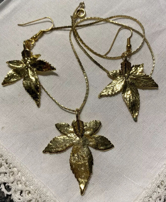 """Gold Dipped Real Leaves 17"""" Necklace & Wire Pierced Earrings YDU-8"""
