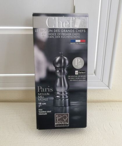"""Peugeot Made France Stainless Steel Pepper Grinder Mill Paris Chef Choice 7"""" New"""