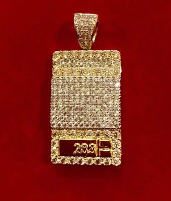Mens 14K Gold Finish Iced Out Weight Scale Drug Dealer 1 Oz Pendant Pc