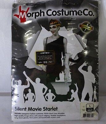 Silent Movie Starlet Morph Costume Womens sz L Halloween T1 - Silent Film Costume Halloween