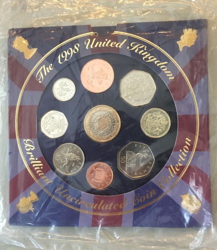 1998 United Kingdom Brilliant Unc 9 Coin Set Collection -Portrait change