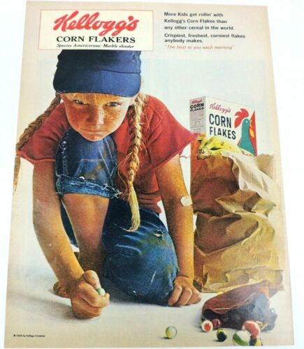 Kelloggs Corn Flakers Vintage 1965 Ad Flakes Marble Shooter Girl Tomboy Cereal