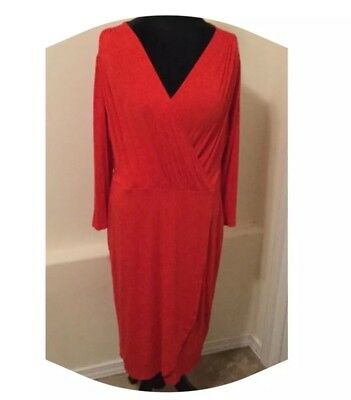 H&M Dress Size Large Women's Orange Stretch Midi Dress NWT