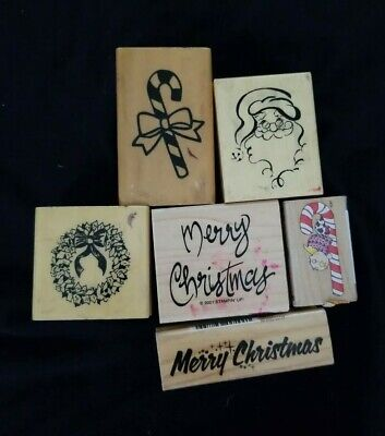Lot (6) Christmas Wood Ink Rubber Stamps Scrapbook Card Making Craft Cards  ()