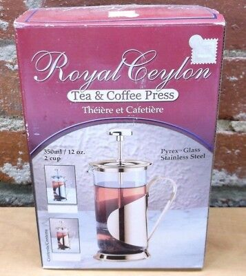 Royal Ceylon Pyrex Glass Stainless Steel Silver Finish 2 Cup Tea & Coffee Press