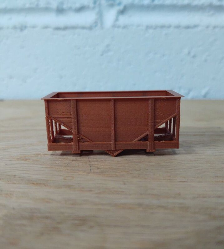 HOn30 Scale 14 ft HOPPER CAR shell. No trucks/couplers. OXIDE RED 3D Print. NEW!