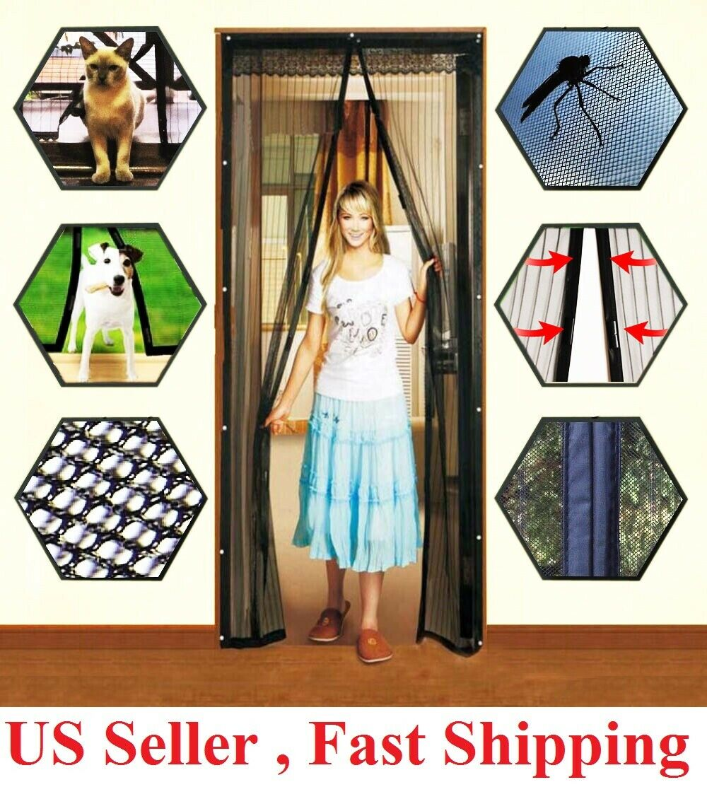 Hands-Free Magnetic Screen Door Mesh Net BLOCK Mosquito Fly Insect Bug Curtain
