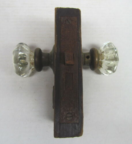 VTG Antique Entry Door Lock Set Brass Glass Knobs