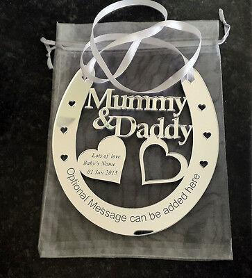 Personalised Mummy and Daddy Good Luck Horseshoe Wedding Aniversary Bridal Gift