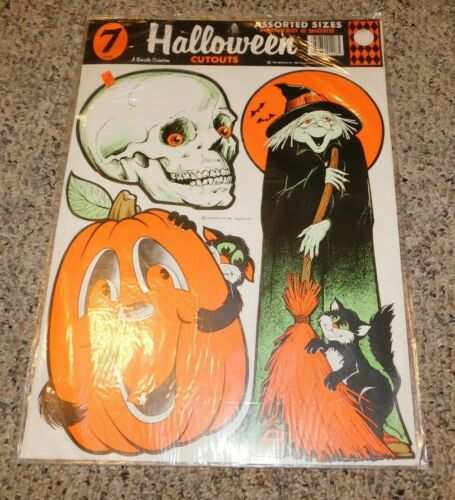 RARE 1981 Halloween 7 Cut Outs Beistle Halloween Decorations MINT OSS