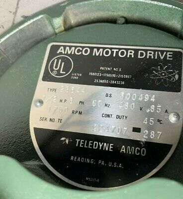 Teledyne Amco Sewing Clutch Motor Drive 23644 - 12hp 3ph 480v -- Series Te