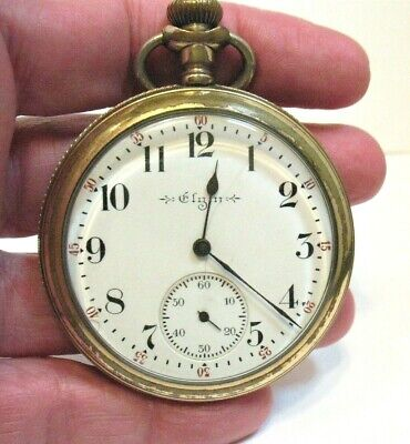 ANTIQUE VINTAGE GOLD FILLED ELGIN POCKET WATCH FOR REPAIR 2 INCHES 89 GRAMS