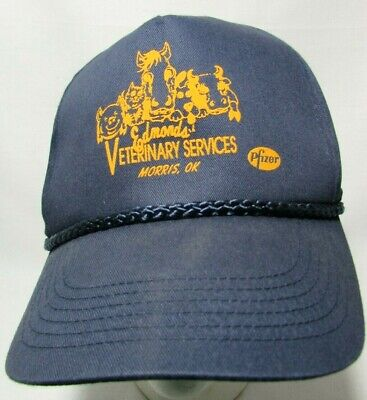 Vtg Edmond's Veterinary Morris OK Bovi Shield Livestock Trucker Farm Blue Hat