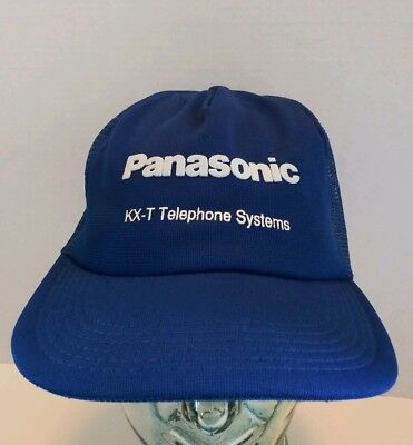 Vintage Panasonic KX-T Telephone Systems SnapBack Trucker Hat Mesh Cap USA Made - Panasonic Blue Telephone
