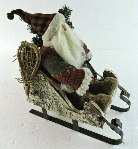 Rustic Home Decor Christmas Santa Riding on a Sleigh 13 in. x 7 in. OOAK