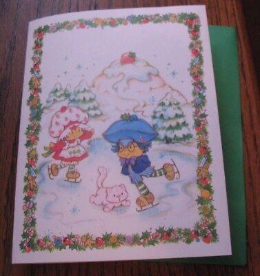 Strawberry Shortcake Christmas Card Plum Puddin Custard Cat Skating FREEShip $15 (Plum Card)