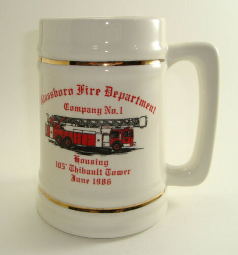Vintage 1986 Glassboro NJ Fire Department Company No1 Housing Stein Double Sided